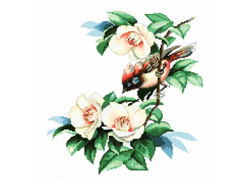Вышивка крестом птицы на цветах 786