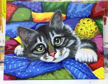 """Картина по номерам """"Котик в лоскутках"""" 002-AB, нарисованная покупателем"""