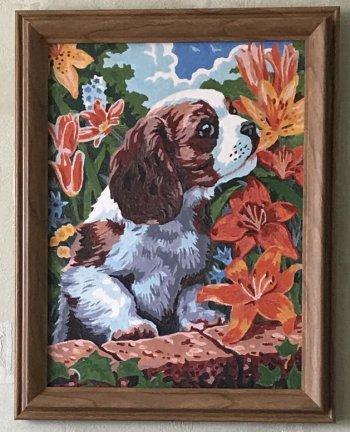 """Картина по номерам """"Щенок и лилии"""" 003-CE, нарисованная покупателем"""