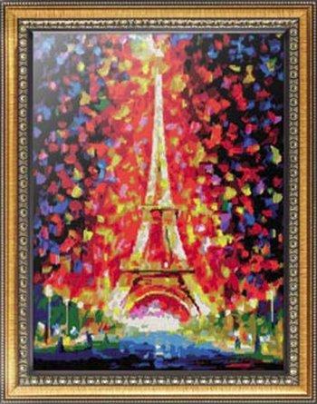 """Картина по номерам """"Париж - огни Эйфелевой башни"""" 026-AS, нарисованная покупателем"""