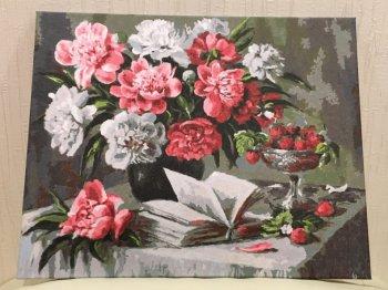 """Картина по номерам """"Пионы и клубника"""" 060-AB, нарисованная покупателем"""