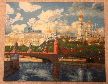 """Картина по номерам """"Московский Кремль"""" 074-AB, нарисованная покупателем"""