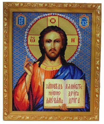 """Мозаика на подрамнике """"Господь Вседержитель"""" 074-ST-S, выложенная покупателем"""