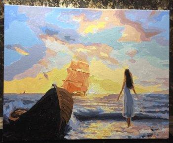 """Картина по номерам """"Алые паруса"""" 093-AB, нарисованная покупателем"""