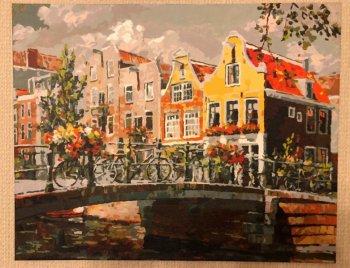 """Картина по номерам """"Амстердам Мост через канал"""" 119-AB, нарисованная покупателем"""