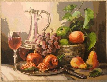 """Картина по номерам """"Натюрморт с фруктами"""" 129-AS, нарисованная покупателем"""