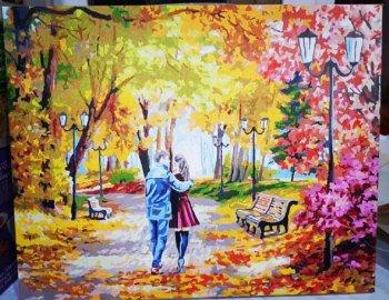 """Картина по номерам """"Осенний парк, скамейка, двое"""" 142-AB, нарисованная покупателем"""