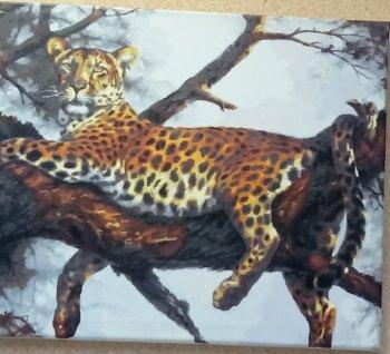"Картина по номерам ""Леопард на отдыхе"" 170-AB, нарисованная покупателем"