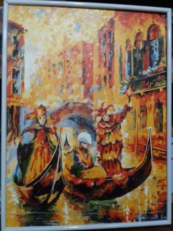 """Картина по номерам """"Венецианская гондола"""" 187-AS, нарисованная покупателем"""