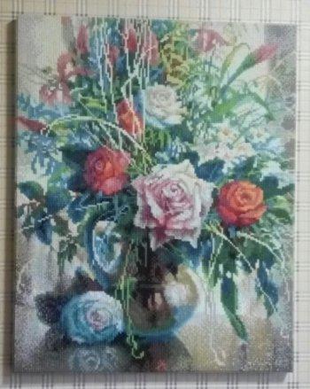 """Мозаика на подрамнике """"Натюрморт с белой розой"""" 200-ST-S, выложенная покупателем"""