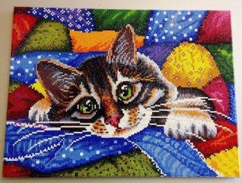 """Мозаика на подрамнике """"Котик в лоскутках"""" 246-ST-S, выложенная покупателем"""