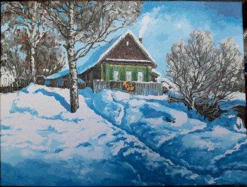 """Картина по номерам """"Домик на горе"""" 279-AS, нарисованная покупателем"""