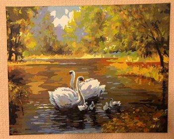 """Картина по номерам """"Лебеди в пруду"""" 312-CG, нарисованная покупателем"""
