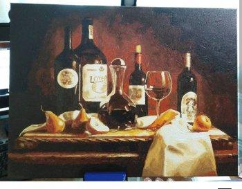 """Картина по номерам """"Вино и груши"""" 317-CE, нарисованная покупателем"""