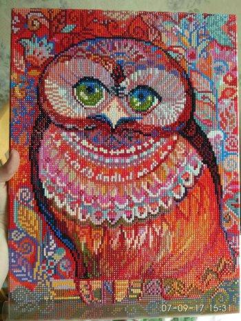 """Мозаика на подрамнике """"Медовая сова"""" 346-ST-S, выложенная покупателем"""