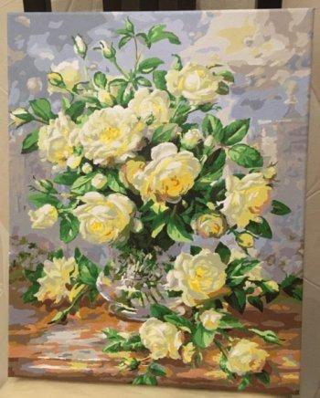 """Картина по номерам """"Белые розы"""" 373-AB, нарисованная покупателем"""