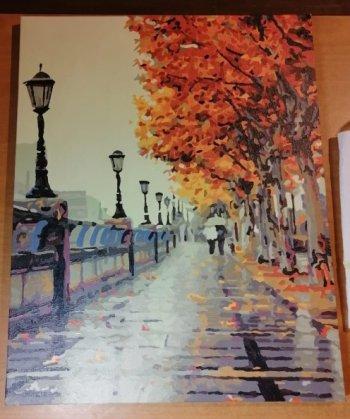 """Картина по номерам """"Осенний дождь"""" 533-CG, нарисованная покупателем"""