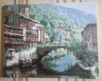 "Картина по номерам ""Древний мост через Нив"" 632-AB, нарисованная покупателем"