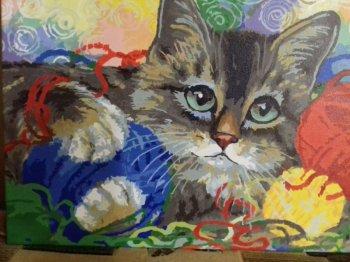 """Картина по номерам """"Котик с клубочками"""" 786-AS, нарисованная покупателем"""