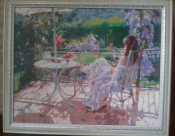 "Картина по номерам ""Утро на террасе"" 935-AB, нарисованная покупателем"