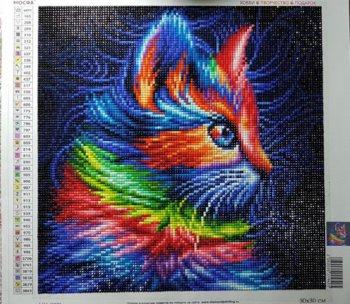 """Алмазная мозаика АЖ-1777 """"Разноцветный котенок"""" в собранном виде"""