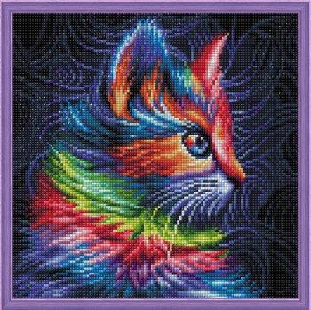 """Собранная мозаика АЖ-1777 """"Разноцветный котенок"""" оформлена в раму"""