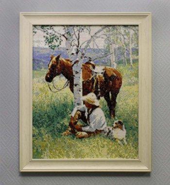 "Мозаичная картина Ag 071 ""Охотник на привале"" в раме"