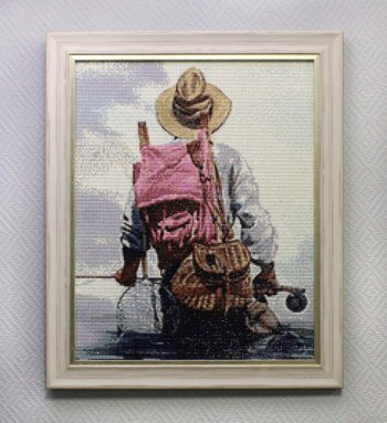 "Мозаичная картина Ag 072 ""Рыбак"" в раме"