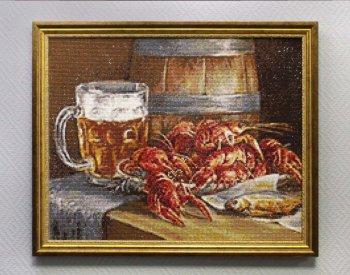 """Мозаичная картина Ag 074 """"Пиво и раки"""" в раме"""