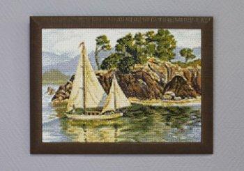 """Мозаичная картина Ag 083 """"Родные берега"""" в раме"""