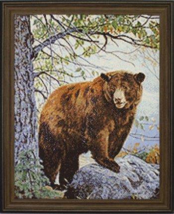 """Мозаичная картина Ag 085 """"Бурый медведь"""" в раме"""