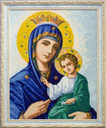 """Мозаичная картина Ag 089 """"Иверская икона Божией Матери"""" в раме"""