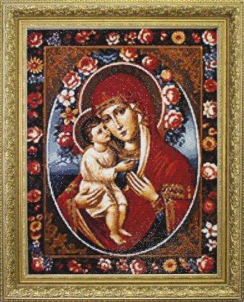 """Мозаичная картина Ag 091 """"Феодотьевская икона Божией Матери"""" в раме"""