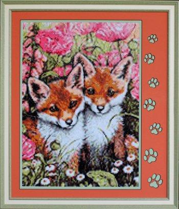 """Мозаичная картина Ag 1041 """"Лисички"""" в раме"""