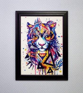 """Мозаичная картина Ag 122 """"Магический тигр"""" в раме"""