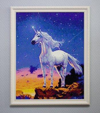 """Мозаичная картина Ag 129 """"Звездный единорог"""" в раме"""