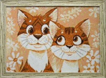 """Мозаичная картина Ag 166 """"Кошачья нежность"""" в раме"""