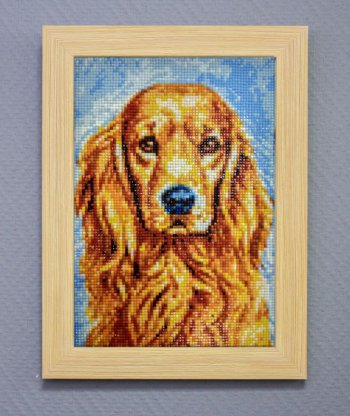 """Мозаичная картина Ag 178 """"Преданный пёс"""" в раме"""