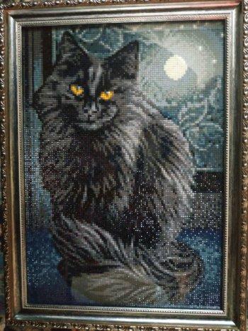 """Мозаичная картина Ag 205 """"Черная кошка"""" в раме"""