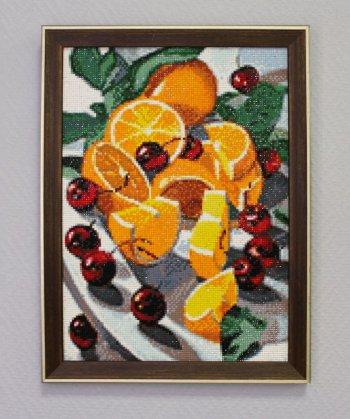 """Мозаичная картина Ag 2238 """"Апельсины и вишни"""" в раме"""