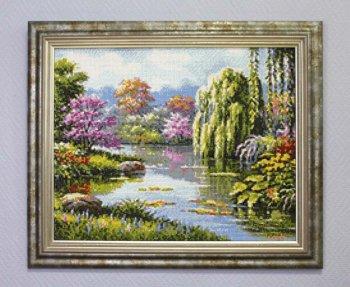 "Мозаичная картина Ag 2240 ""Живописное озеро"" в раме"