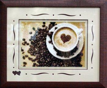 """Мозаичная картина Ag 225 """"Кофе для нее"""" в раме"""