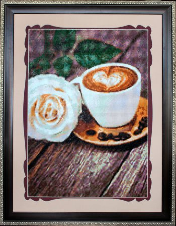 """Мозаичная картина Ag 228 """"Кофе и роза"""" в раме"""