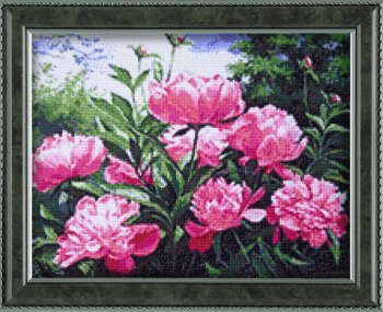 "Мозаичная картина Ag 2304 ""Пионов цвет"" в раме"