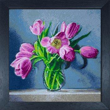 """Мозаичная картина Ag 2309 """"Весенние тюльпаны"""" в раме"""