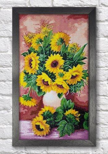"""Мозаичная картина Ag 2333 """"Подсолнухи в вазе"""" в раме"""