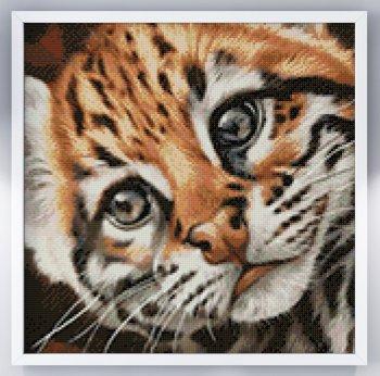 """Мозаичная картина Ag 2427 """"Котенок Оцелот"""" в раме"""