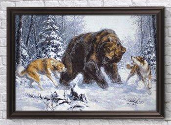 """Мозаичная картина Ag 2432 """"Лайки и медведь"""" в раме"""