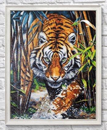 """Мозаичная картина Ag 2464 """"Хищник джунглей"""" в раме"""