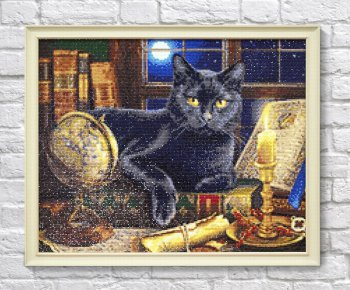 "Мозаичная картина Ag 2467 ""Мудрый кот"" в раме"